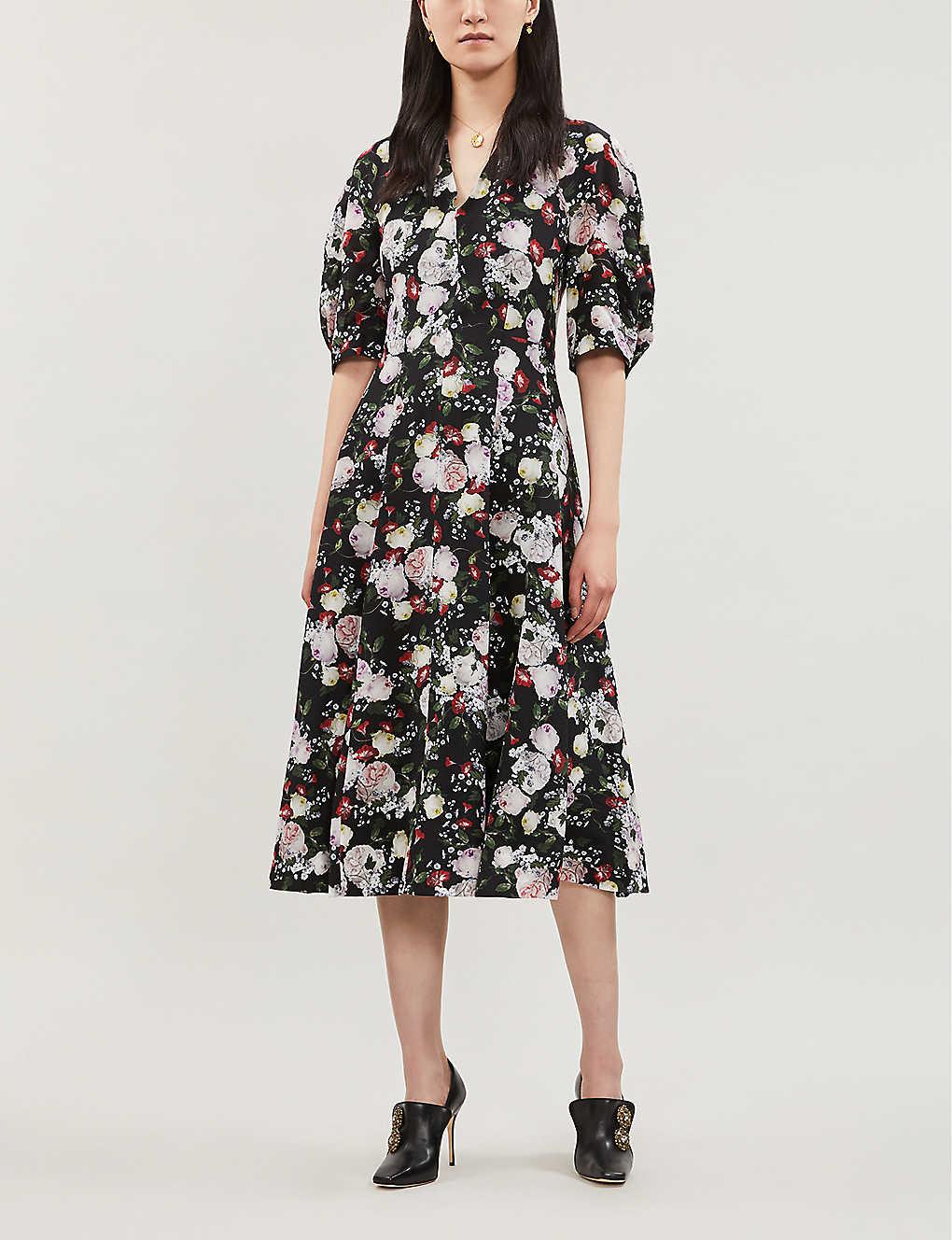 ERDEM Cressida Silk Black Dress