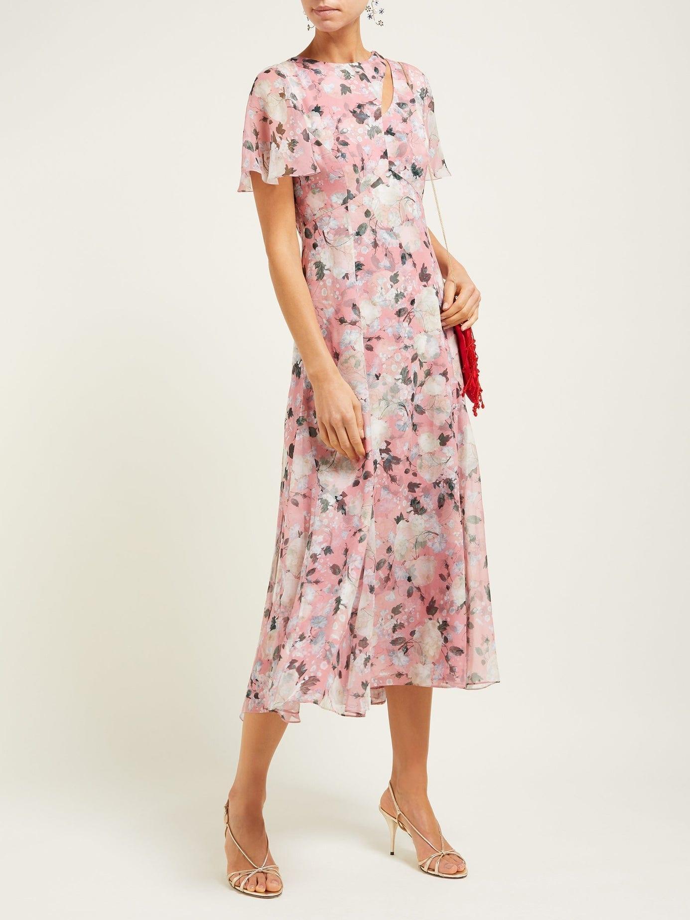 ERDEM Kirstie Silk-Chiffon Midi Pink Dress