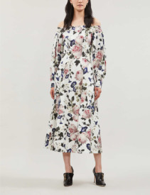 ERDEM Pollina Off-The-Shoulder Cotton White Dress