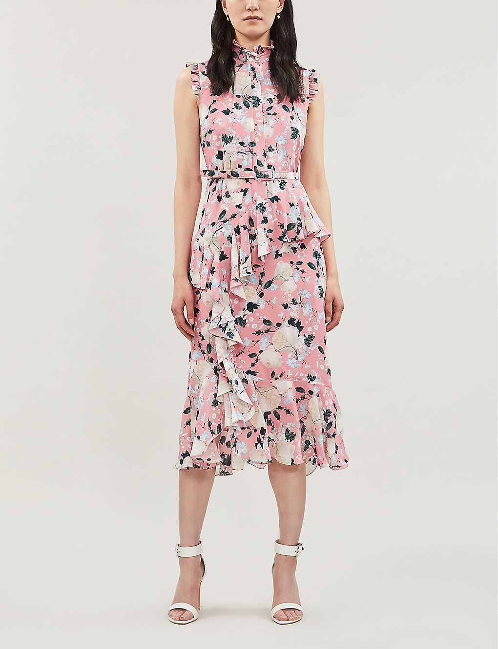 ERDEM Ruffled Silk Pink Dress