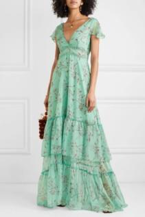 EYWASOULS MALIBU Kimi Rope Trimmed Chiffon Maxi Green Dress