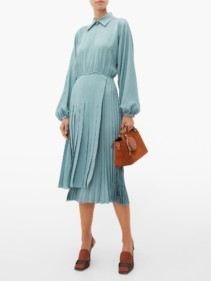 FENDI Asymmetric Pleated Satin Dress