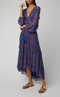 FIGUE Alessia Printed Chiffon Midi Navy Dress