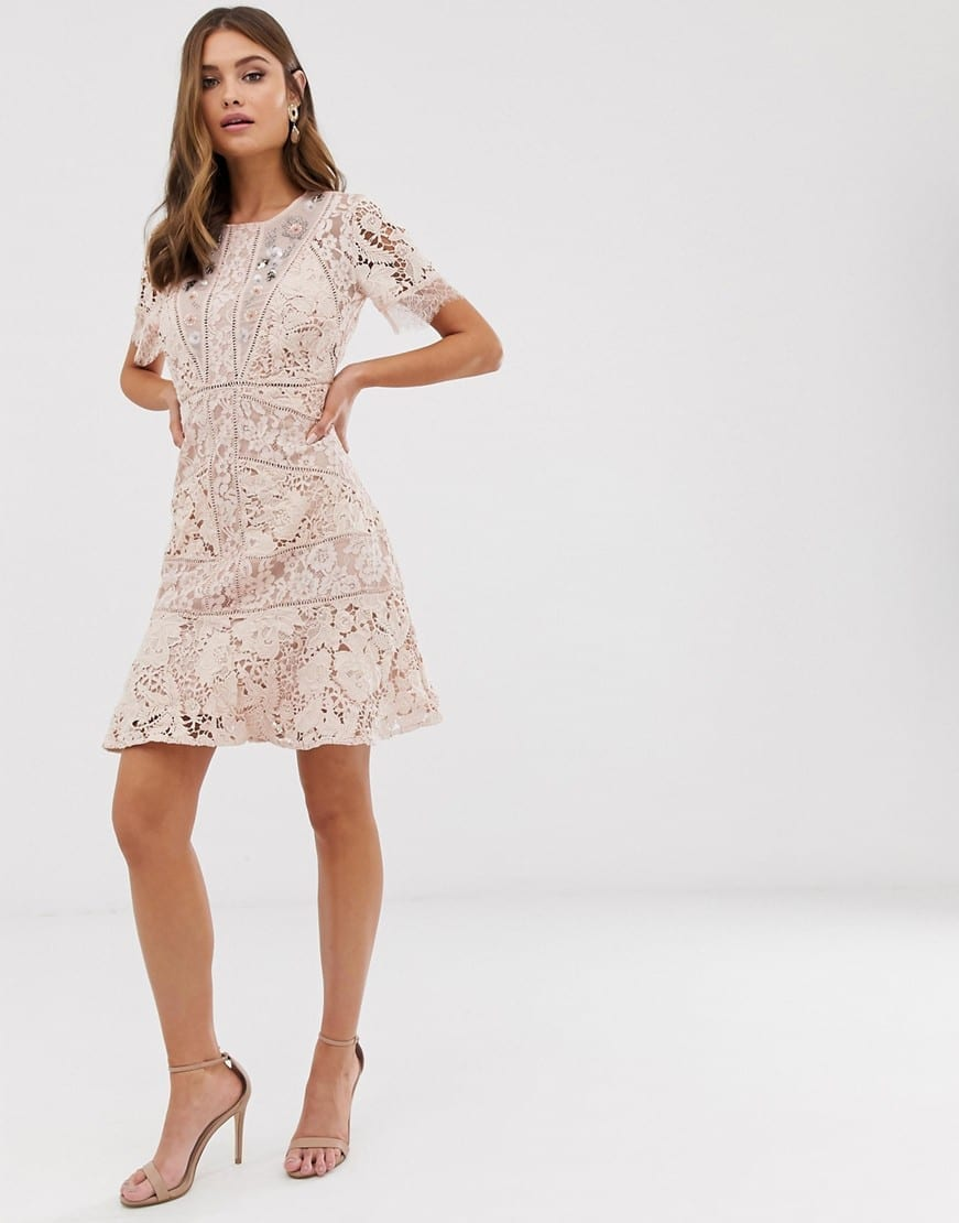 FRENCH CONNECTION Chante Lace Embellished Lace Mini Pink Dress