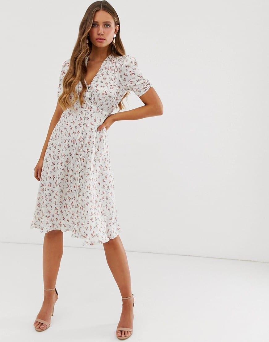 GHOST Sabrina Floral Print Satin Midi Dress
