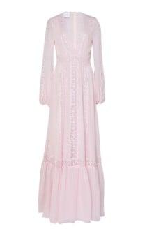 GIAMBATTISTA VALLI Lace Inset Silk-Chiffon Pink Gown