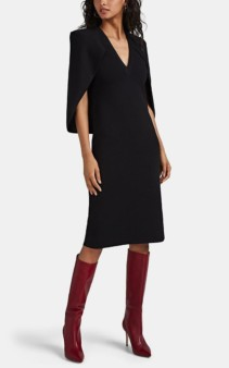 GIVENCHY Crepe Cape Sweater Black Dress