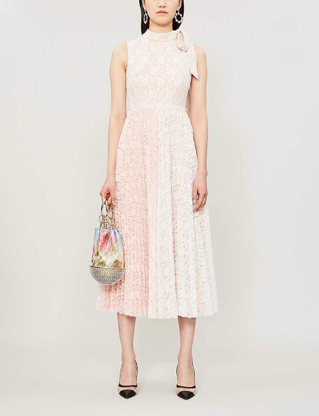 UISHAN ZHANG Melissa Tied-Neck Pleated Lace Midi Pink Dress