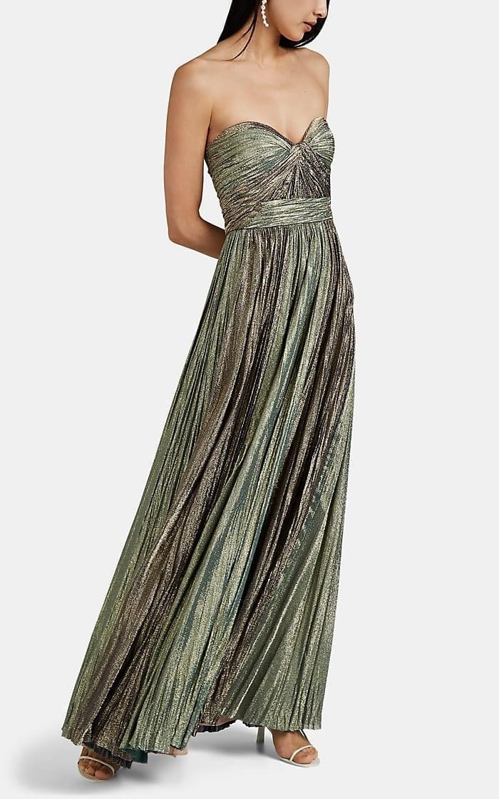 J. MENDEL Plissé Lamé Strapless Green Gown