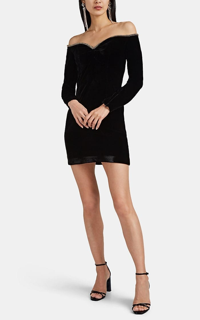 J. MENDEL Velvet Off-The-Shoulder Mini Black Dress