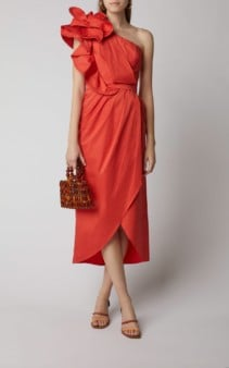 JOHANNA ORTIZ Exclusive Persian Opulence Cotton-Blend Midi Red Dress