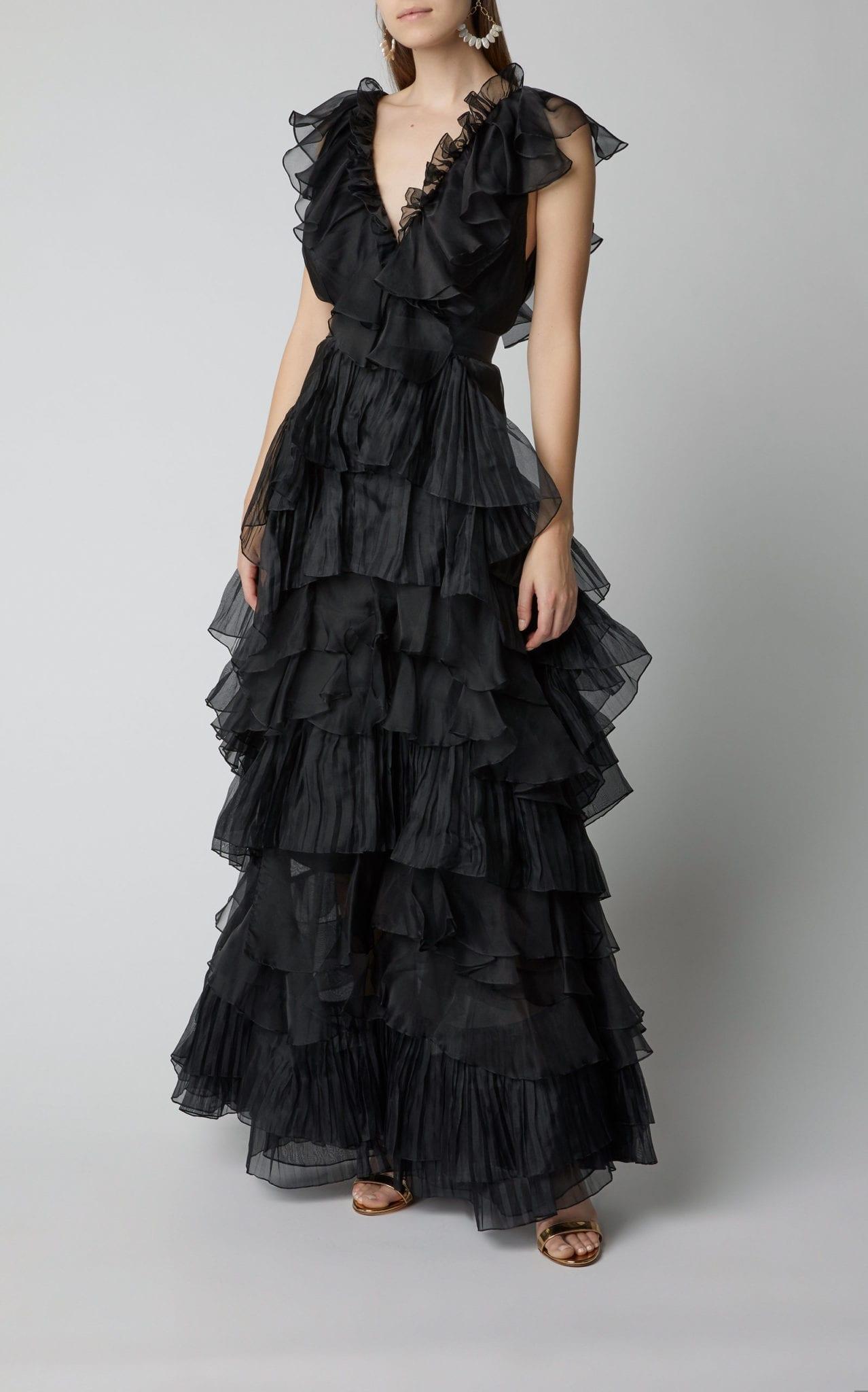 JOHANNA ORTIZ Melancholy Dance Ruffled Silk-Organza Black Gown