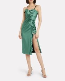 JONATHAN SIMKHAI Sateen Ruffle Bustier Dress