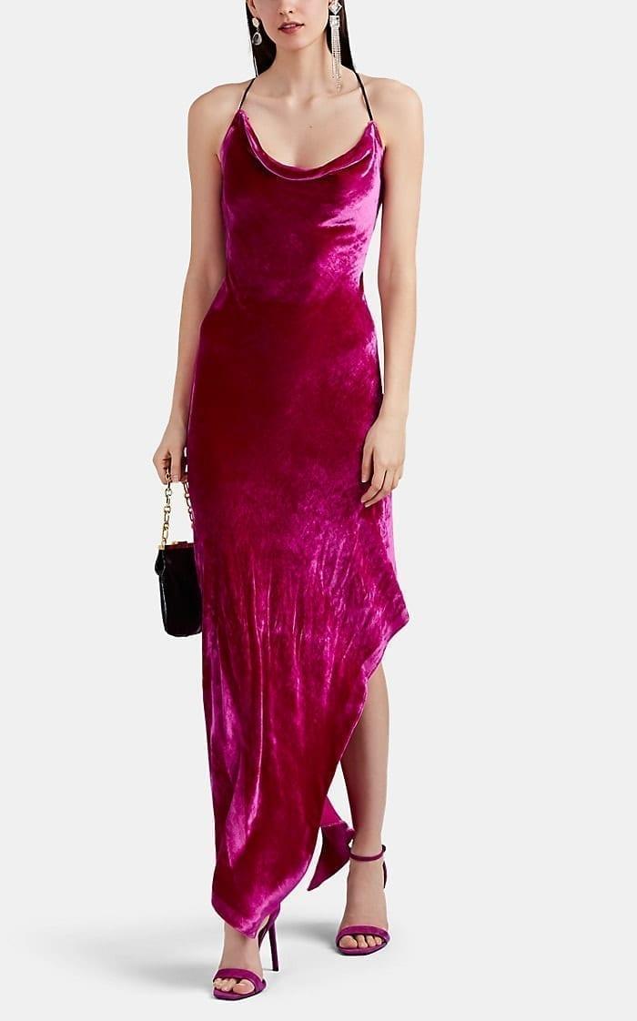 JUAN CARLOS OBANDO Velvet Asymmetric Cocktail Pink Dress