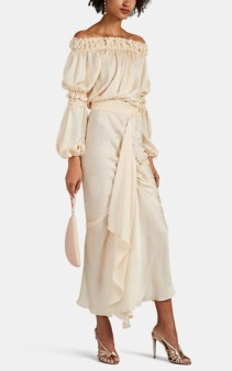 JUAN CARLOS OBANDO Washed Satin Off-the-shoulder Beige Dress