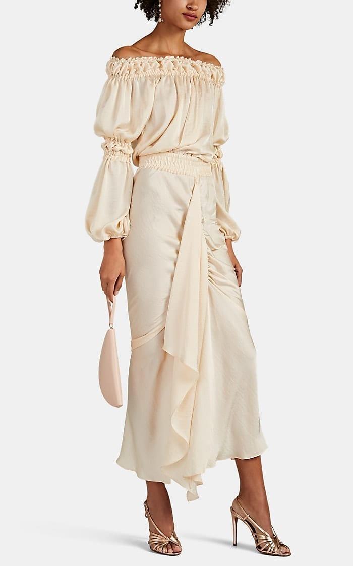 JUAN CARLOS OBANDO Washed Satin Off-the-shoulder Beige Dress