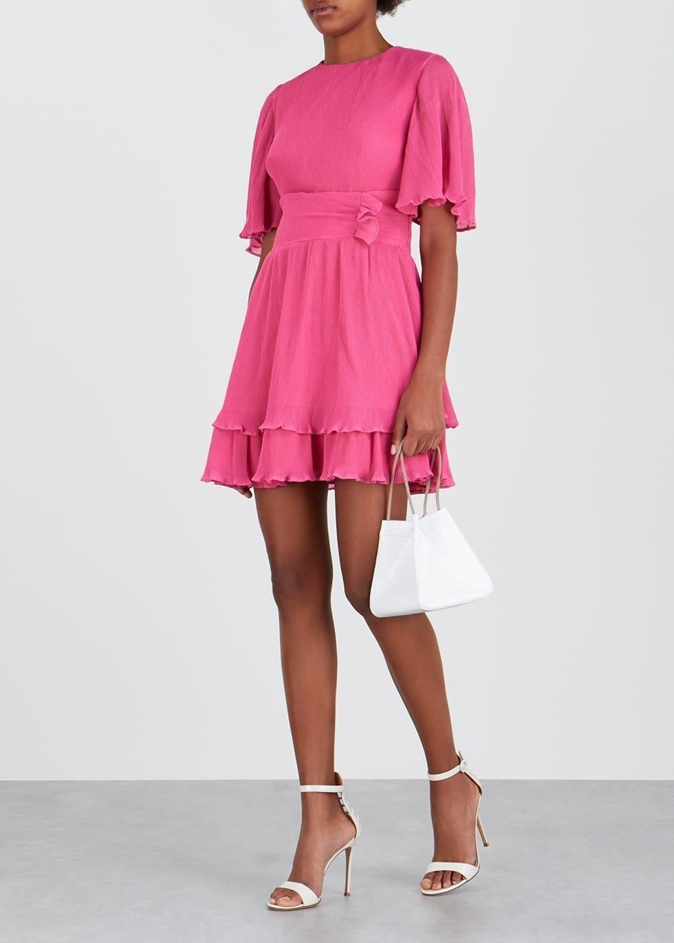 KEEPSAKE Night Fall Pink Plissé Mini Dress