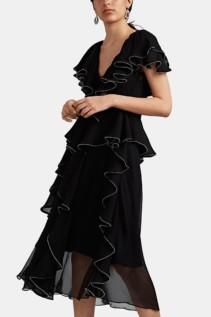 KOCHÉ Beaded-Ruffle Silk Chiffon Midi Black Dress