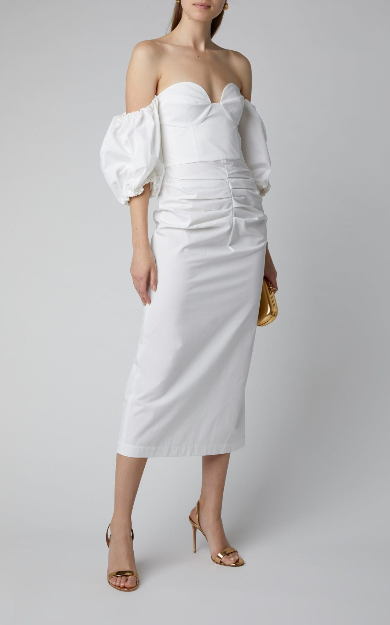 LAKE STUDIO Off-The-Shoulder Pouf-Sleeve Cotton Midi Dress