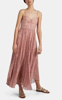 LAURA GARCIA COLLECTION Georgiana Ikat Silk Chiffon Maxi Pink Dress