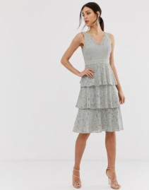 LITTLE MISTRESS Lace Tiered Midi Grey Dress