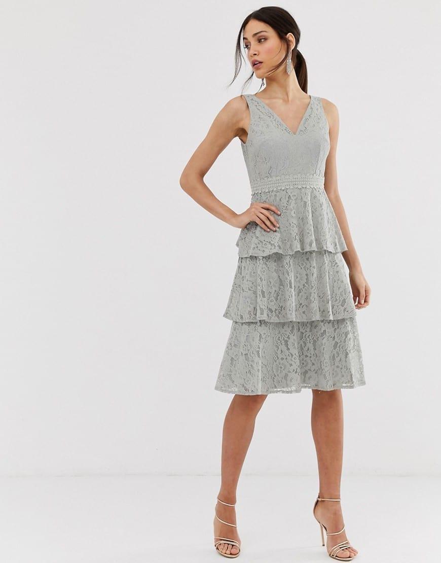 LITTLE MISTRESS Lace Tiered Midi Grey Dress