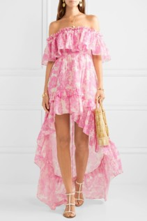LOVESHACKFANCY Alexia Asymmetric Ruffled Cotton And Silk-Blend Voile Pink Dress