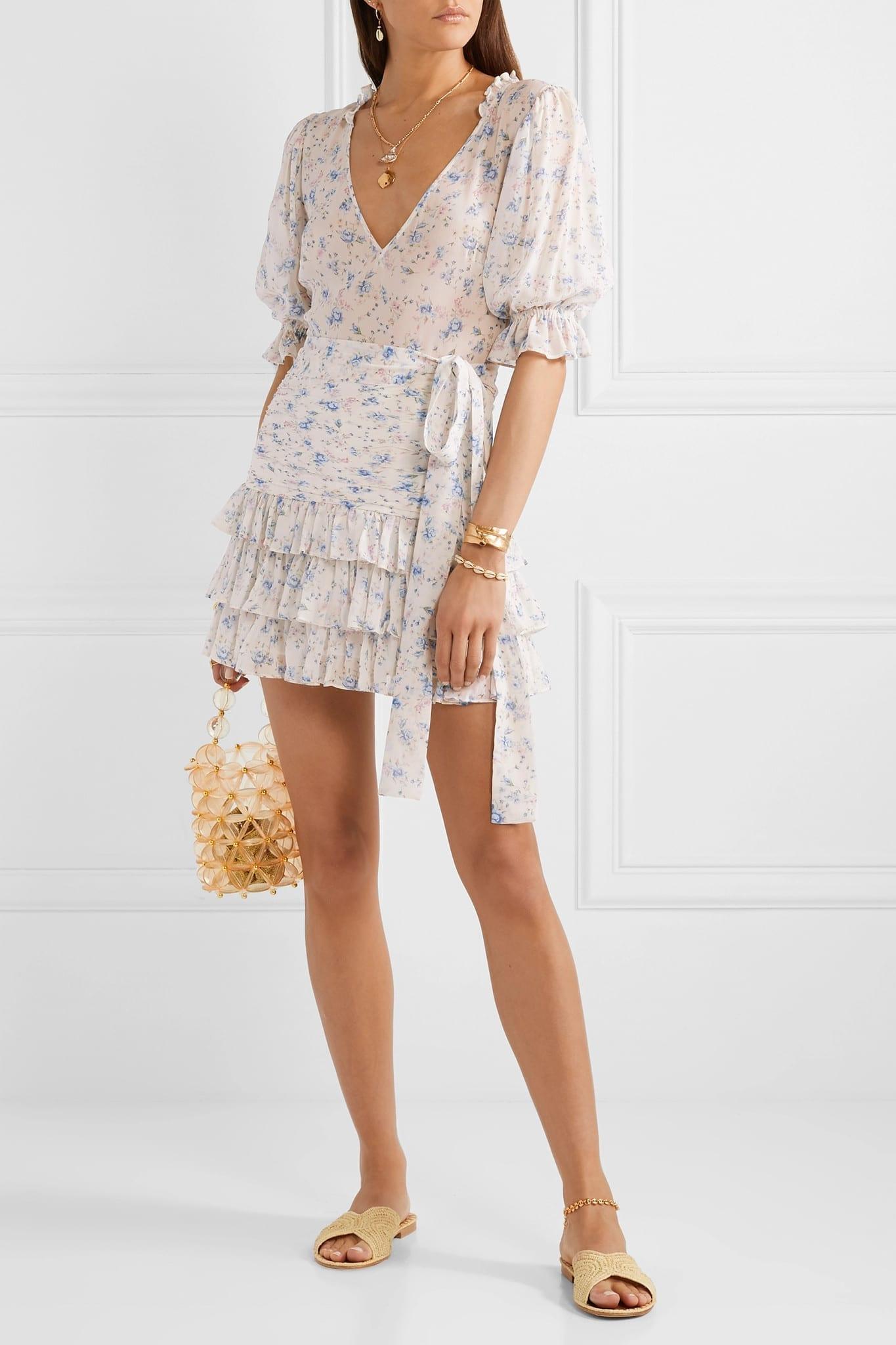LOVESHACKFANCY Hannah Ruffled Tiered Silk-georgette Mini Dress