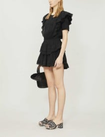 LOVESHACKFANCY Natasha Ruffled Cotton Mini Black Dress