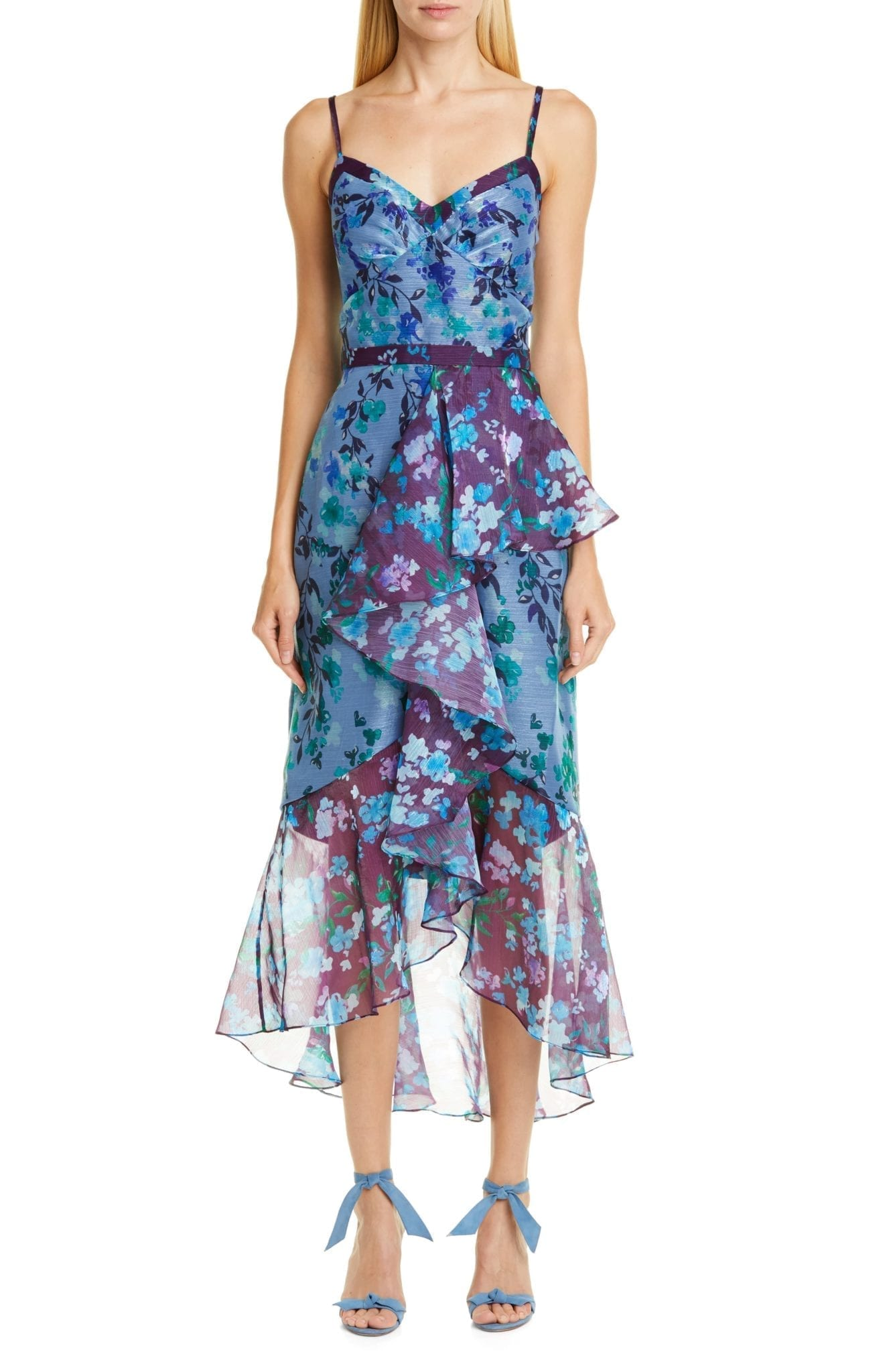 MARCHESA NOTTE High/Low Chiffon Midi Blue Dress