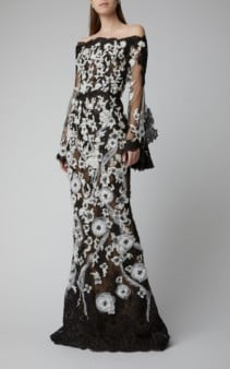 MARCHESA Off-The-Shoulder Corded Lace Gown