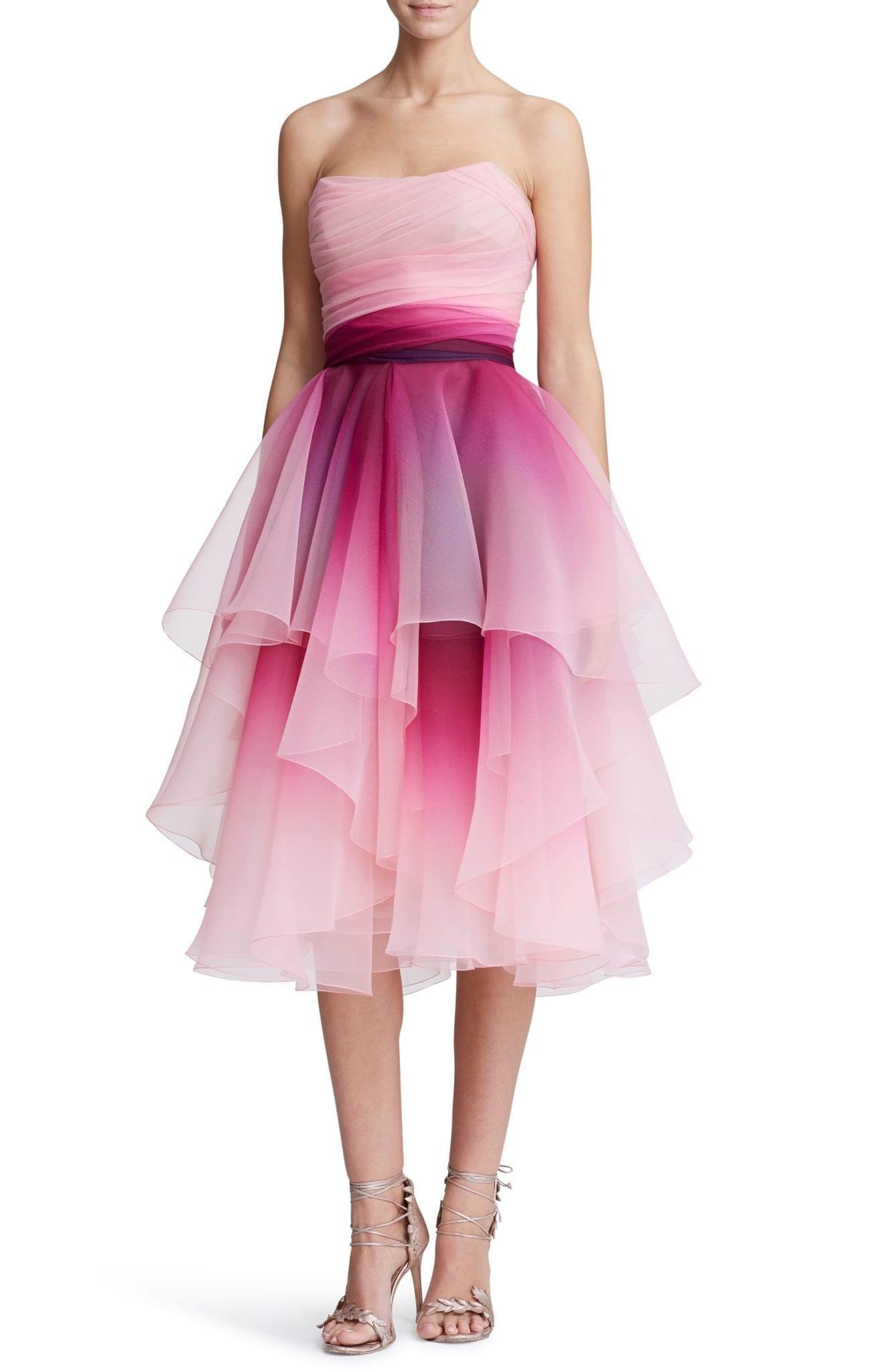 MARCHESA Strapless Ombré Organza Cocktail Dress