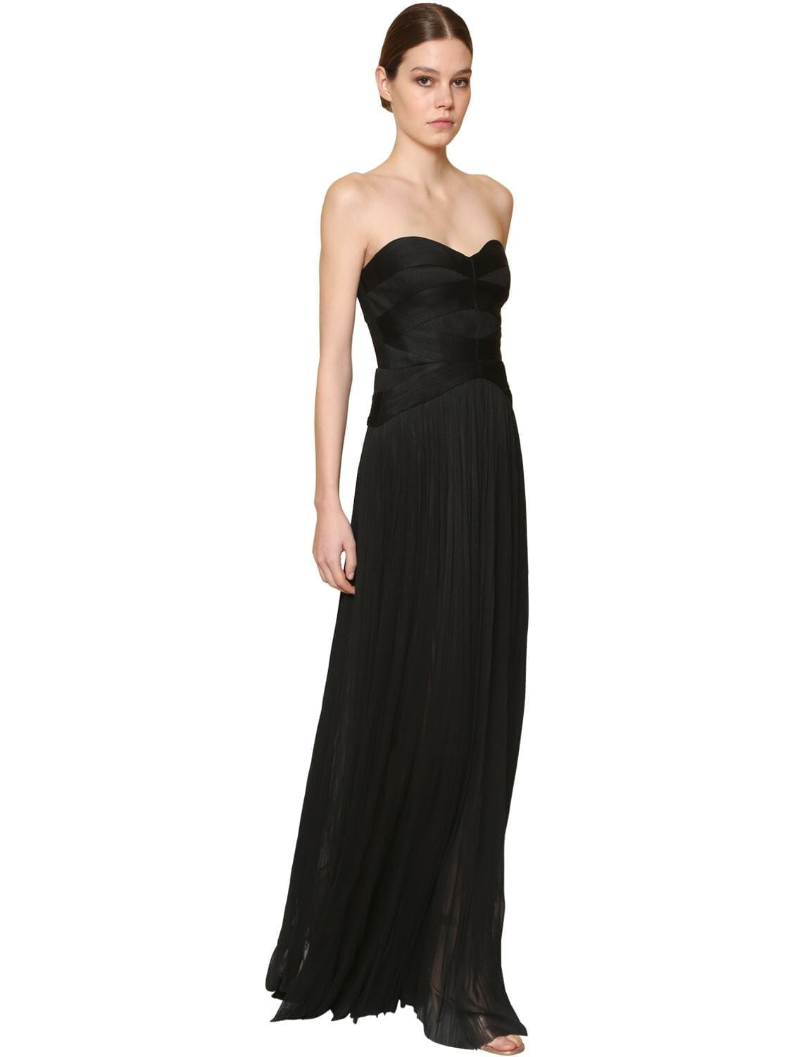 MARIA LUCIA HOHAN Long Strapless Metallic Silk Tulle Dress