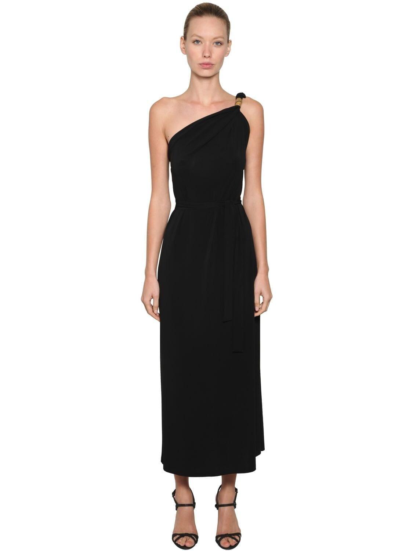 MAX MARA One Shoulder Viscose Crepe Dress
