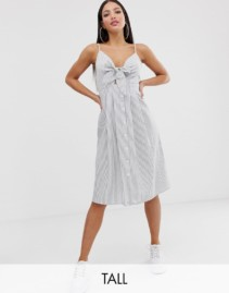 MISSGUIDED TALL Tie Front Stripe Midi Dress