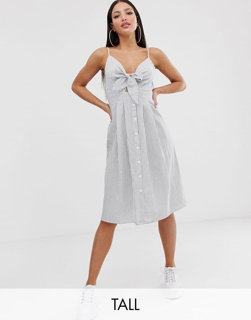 MISSGUIDED TALL Tie Front Stripe Midi Dress