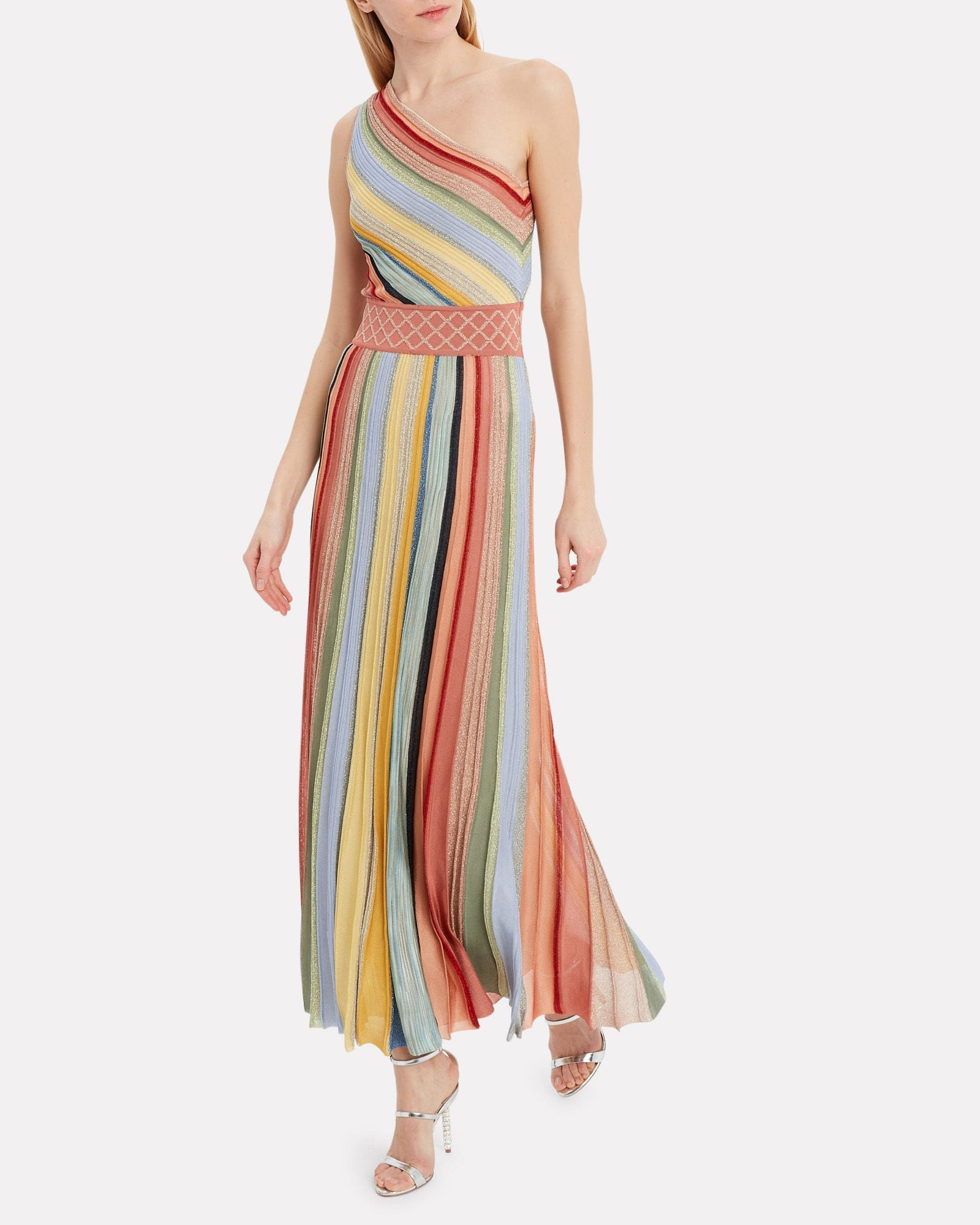 MISSONI One Shoulder Striped Gown