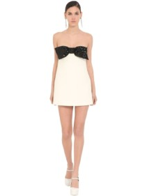 MIU MIU Strapless Bow Embellished Mini Dress