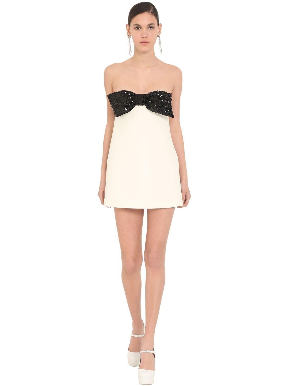 MIU MIU Strapless Bow Embellished Mini Dress