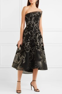 MONIQUE LHUILLIER Sequin-embellished Embroidered Velvet And Tulle Black Gown