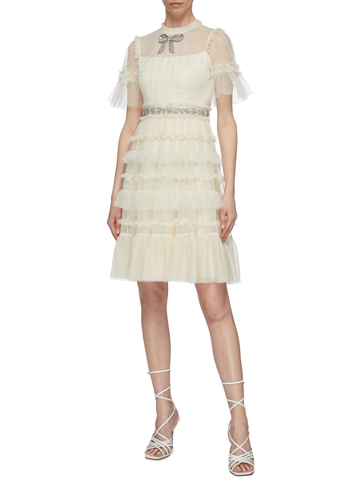 NEEDLE & THREAD 'Embellished Bow' Ruffle Trim Tiered Tulle Dress