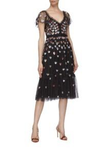 NEEDLE & THREAD 'Love Heart' Sequin Tiered Tulle Dress
