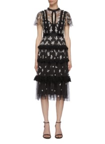 NEEDLE & THREAD 'Monochrome Ditsy' Lace Trim Floral Embroidered Tiered Tulle Dress
