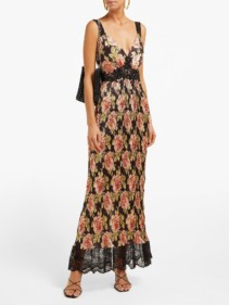 PACO RABANNE Lace-Trimmed Rose-Print Plissé Black Dress