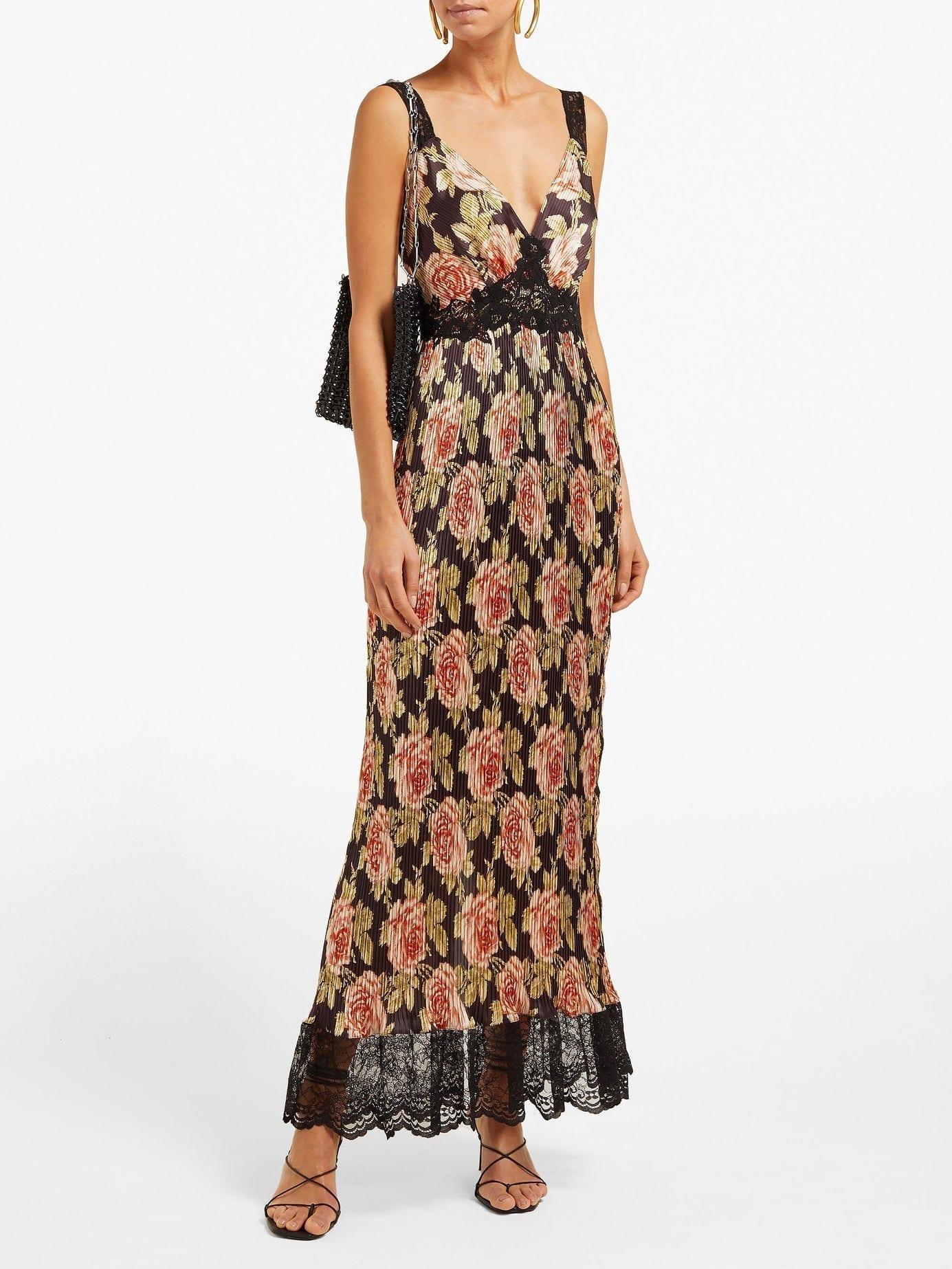 PACO RABANNE Lace-Trimmed Rose-Print Plissé Black Dress