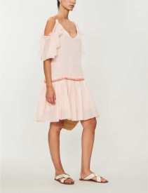 PITUSA Camille Cold-shoulder Cotton-Voile Pink Dress