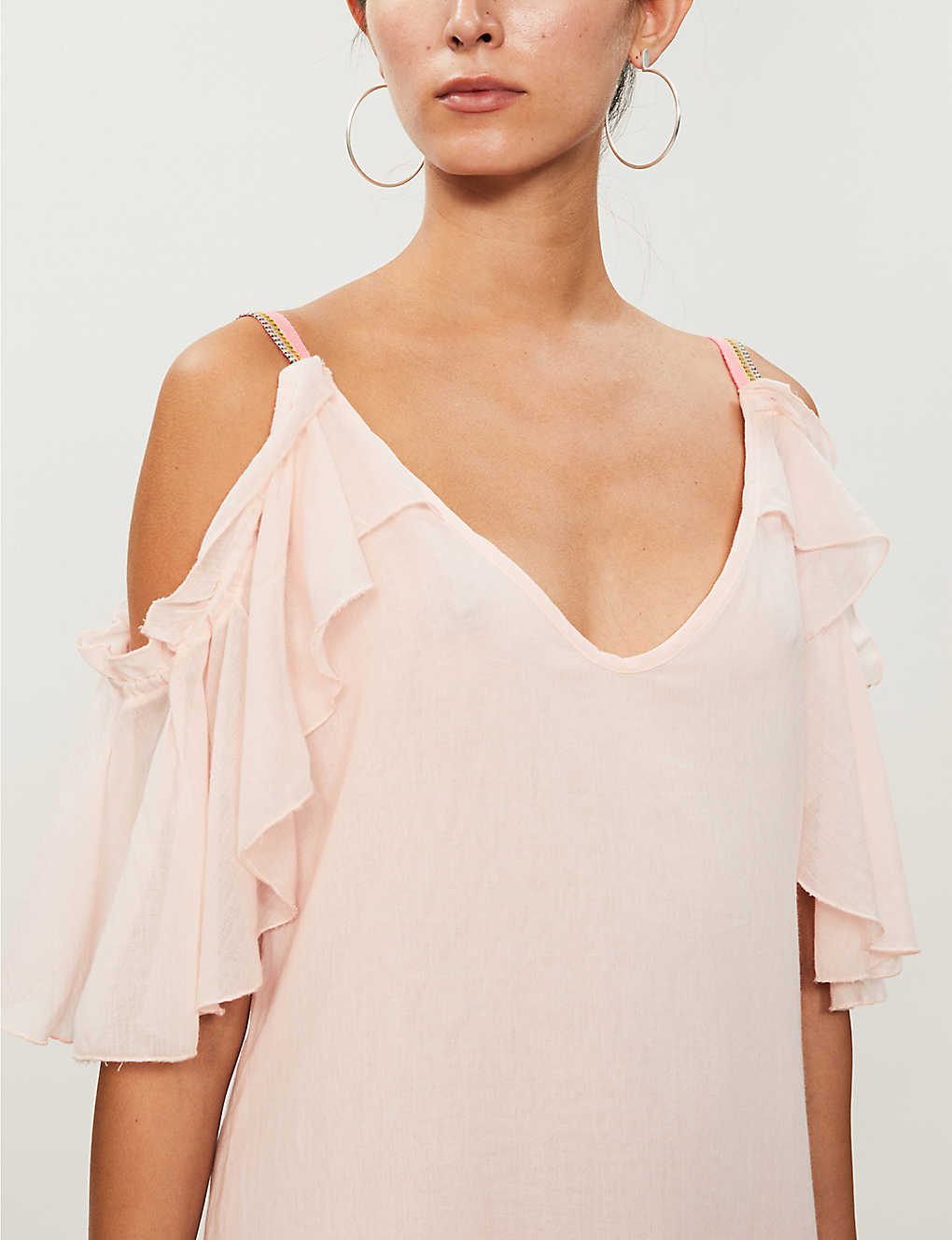 PITUSA Camille Cold-shoulder Cotton-Voile Pink Dress