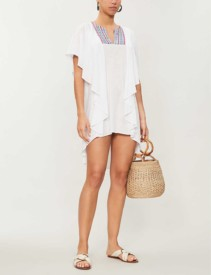 PITUSA Patterned-Neck Ruffled Cotton-Blend Jersey White Dress