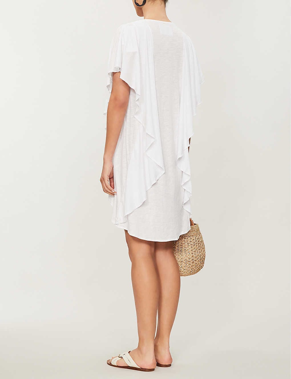 PITUSA Patterned-Neck Ruffled Cotton-Blend Jersey White Dress