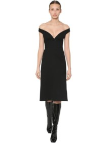 PRADA Natté Wool Gabardine Midi Dress